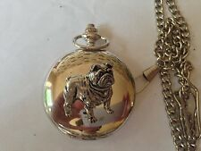 D14 Bulldog   polished silver case mens GIFT quartz pocket watch fob