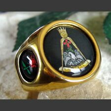 Knight Rose Croix Mason Masonic Cross Ring 18K Gold plated size 12