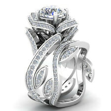 Fashion Women 925 Silver Lotus Flower White Topaz Ring Set Wedding Jewelry