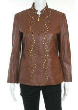 ST JOHN SPORT Brown Leather Studded Long Sleeve Zip Up Jacket Sz S