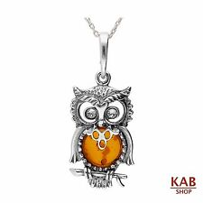 "COGNAC BALTIC AMBER STERLING SILVER 925 BEAUTY PENDANT OWL+18""chain KAB-81"