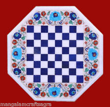 Marble Chess Coffee Table Stone White Pietra dura Inlay Art Work For Home Decor