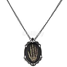 Victorian steampunk goth gothic skull skeleton hand Pendant necklace chain