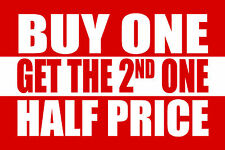 "BUY ONE GET THE 2ND ONE HALF PRICE 12""x8"" BUSINESS STORE RETAIL COUNTER SIGN"