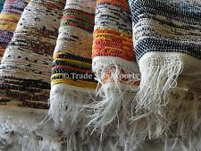 Indian Tapestry Rag Rug Oriental Carpet Gypsy Runner Vintage Hand Loomed Throw
