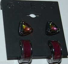 NWT Guess Black Metal-Aurora Color Stones, Purple Insert Hoops 2 Pair Earrings