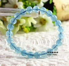 8mm Natural Blue Topaz Crystal Stretch Round Clear Beads Bracelet