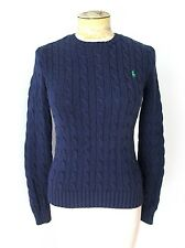 Ralph Lauren Navy Blue 100% Cotton Cable Crew Neck Sweater Green Polo Pony S