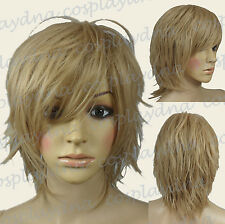 "16 ""  Hi_Temp Pecan Blonde Hand Spikeable Shaggy Cut  Short  Cosplay Wigs 64016"