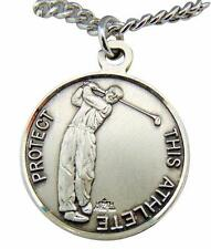 "Saint Christopher Round Sterling Silver Golf 15/16"" Medal w/ 24"" Chain USA Made"