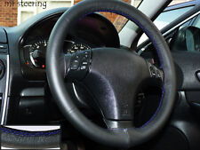 FITS TOYOTA VENZA 08-12 BLACK TOP LEATHER STEERING WHEEL COVER BLUE STITCHING