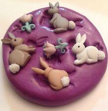 Molde de silicona mezcla de conejo (Cupcake Topper. artesanía. Decoración Pascua herramientas.