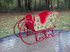 "Vintage Silvestri Large 11"" Wood/Metal Wooden Doll Christmas Sleigh"