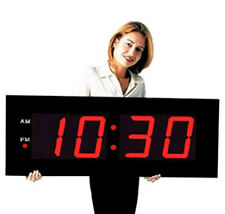 "Large Digital LED Clock  Giant 8"" Numeral Red LED Wall Clock With Remote Control"