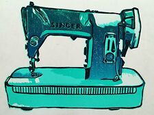 Reduction lino print of a retro Singer sawing machine
