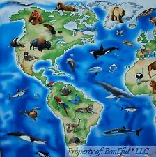 BonEful Fabric Cotton Quilt Blue Green World Large Map Sea Animal FQ Sale SCRAP
