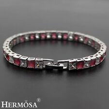 "65% Off Hermosa Red Garnet White Topaz 925 Sterling Silver Bracelet 7.5"""