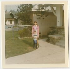 Square Vintage 70s PHOTO Little Boy w/ Big Teen Sister In Front Yard