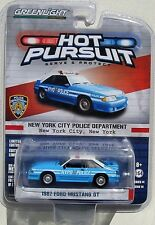 GREENLIGHT HOT PURSUIT SERIES 14 1987 FORD MUSTANG GT NEW YORK CITY POLICE DEPT