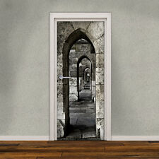 Door Decal Self Adhesive Vinyl Sticker, Medieval Passage Door Wrap