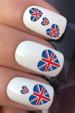 WATER NAIL TRANSFERS UNION JACK BRITISH FLAG HEARTS UK DECALS STICKERS *337
