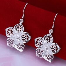New Women 925 Sterling Silver Plated Fashion Modern Flower Stud Earrings Jewelry