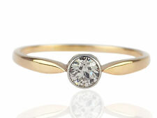 Jugendstil Solitär Damen 14 K 585 Gelb Gold 0,32 ct Diamant Verlobung Ring !