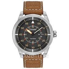 -NEW-Citizen Avion AW1361-10H Leather Band Eco-Drive Watch