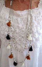 Tassel Necklace Caramel Brown White Three Layers Tassels Pearl Beads Handmade