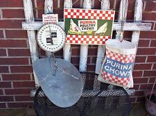 Vintage Purina Poultry Chows Sign + Hanging Scale + Clothespin bag Old Feed Seed