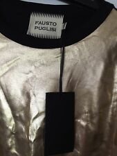 Fausto Puglisi Gold Leather T Shirt Size 10