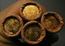 4 ROLLS MYSTERY TAILS/TAILS LINCOLN WHEAT CENT OBW ORIGINAL BANK WRAPPED BU UNCc