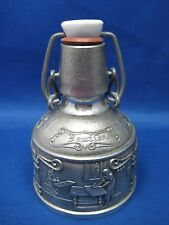 "5"" Antique German Pewter Embossed & Engraved Bottle-Flask w/ Stopper"