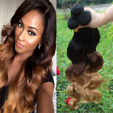 3 Bundles Brazilian Virgin Body Wave Human Hair Extension 3 Tone Ombre 16+18+20