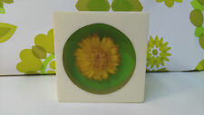 Collectable Vintage 1970's Dried Yellow Flower in Acrylic/Resin Paperweight(b10)