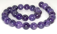 15MM LIGHT AMETHYST GEMSTONE GRADE AB PURPLE ROUND 15MM LOOSE BEADS 7""