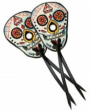 SUGAR SKULL PAIR of Hand Painted LEATHER Bit Guards New Horse Tack