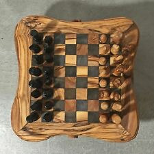 Chess Game Set from Olive Wood with hand carved pieces, storage boxes