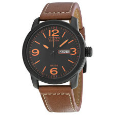 CITIZEN BM8475-26E Eco-Drive Stainless Steel Brown Leather Strap Military Watch