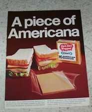 1969 ad page - Kraft Foods American Cheese slices singles -a piece of Americana-