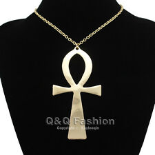 10x5cm Gold Egyptian Life Big Ankh Cross Pendant Long Chain Sweater Necklace C8