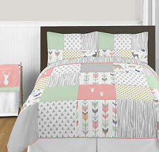 Modern Mint White Coral Forest Arrow Grey Deer Full Queen Comforter Bedding Set
