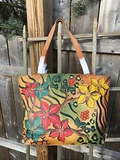 New Anuschka Safari Bloom Genuine Leather Hand Painted Tote Bag - Perfect Spring