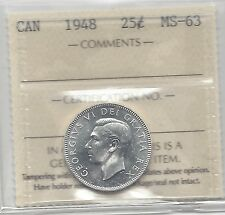 **1948**, ICCS Graded Canadian, Silver 25 Cent, **MS-63**