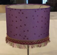 STUNNING SPARKLY AUTHENTIC SARI FRINGE TRIMMING PURPLE PINK STARS DRUM LAMPSHADE
