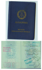 DDR GDR Pass Reisepass Passport mit Visa und Ein- Ausreisestempeln 1968 ungültig