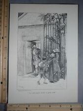 Rare Antique Orig VTG Nor Surly Porter Stands In Guilty State Illustration Print