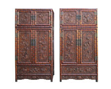 Pair Chinese Rosewood Relief Foo Dog Carving Compound Cabinets SDC1