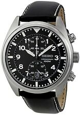 Seiko Men's SNN231P2 Black Leather Quartz Watch