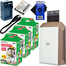 Fujifilm instax SHARE Smartphone Printer SP-2,Gold + 60shts Film + Batt & Chargr